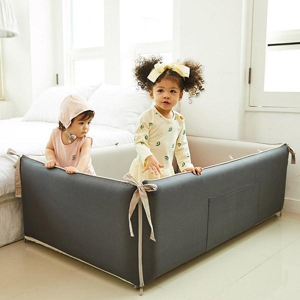 ★자동충전아기침대★블룸에어범퍼침대_차콜그레이(130x80)