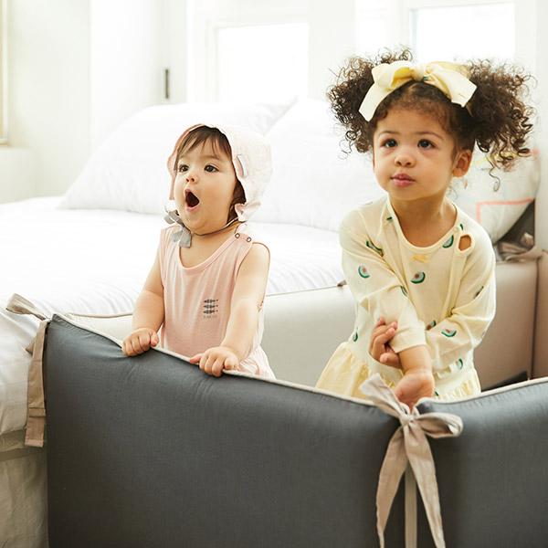 ★자동충전아기침대★블룸에어범퍼침대_차콜그레이(130x80)+순면패드