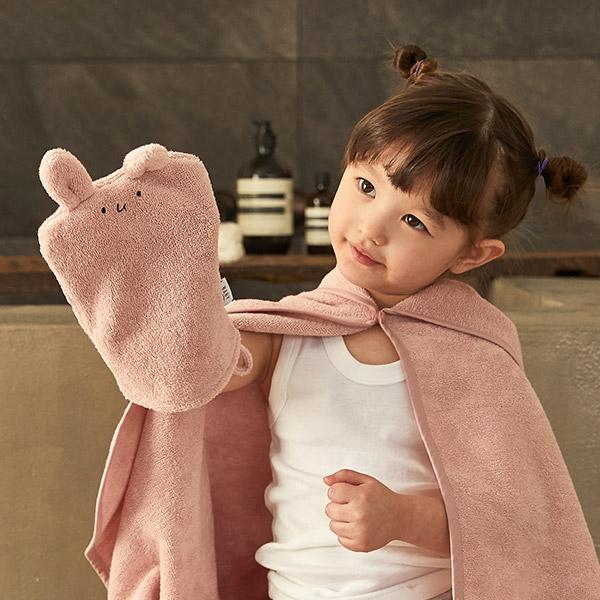 항균 타올 세트 토끼_아기목욕타올/샤워가운/어린이집고리수건