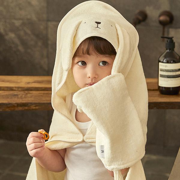항균 타올 세트 강아지_아기목욕타올/샤워가운/어린이집고리수건
