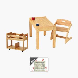부오노 아미체(유아책상)+북웨건(책꽂이)세트+의자쿠션 증정
