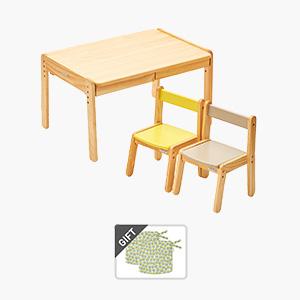 노스타 2인용 원목 책상의자세트(+쿠션 증정)