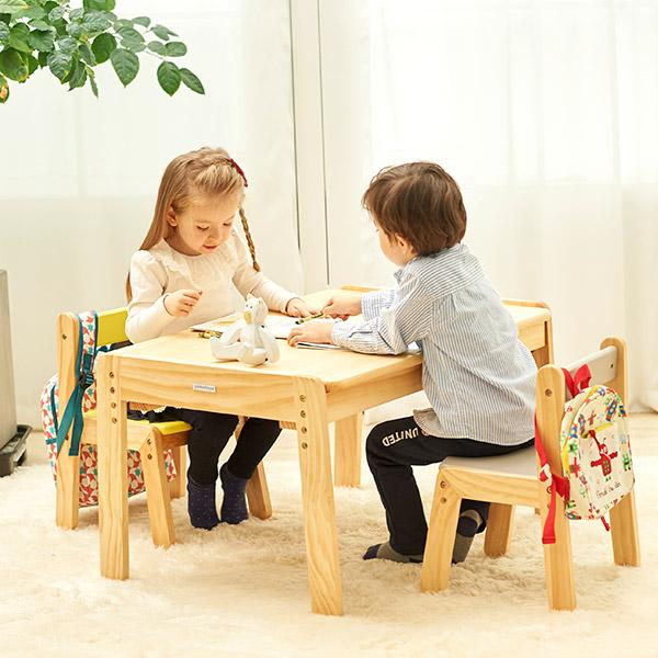 노스타 2인용 원목 책상의자세트+의자쿠션2개