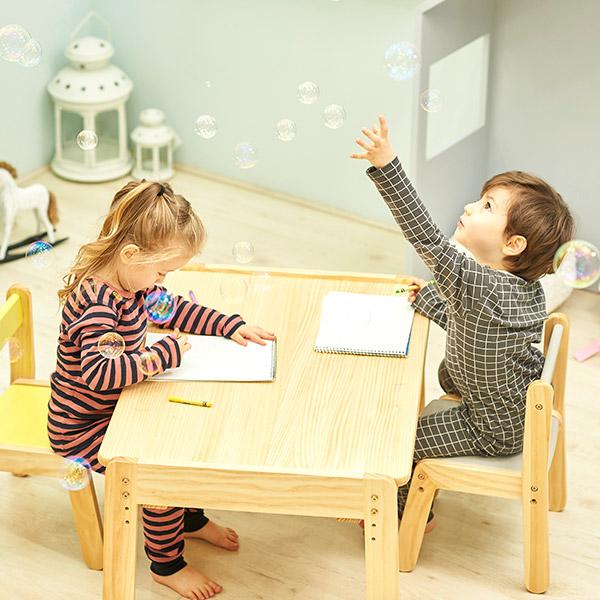 더블위크★노스타 2인용 원목 책상의자세트(의자쿠션2X2개)