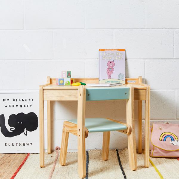 노스타 1인용 원목 책상의자세트+토들러백팩+책상매트