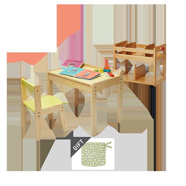 노스타(1인용책상)+북웨건(책꽂이)+의자쿠션 증정