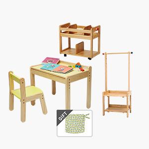 노스타 1인용(유아책상의자)+북웨건(책꽂이)+행거랙(수납식 옷걸이)세트 (+쿠션 증정)