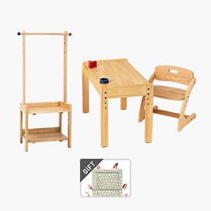 부오노 아미체(유아책상의자)+행거랙(수납식 옷걸이)세트 (+쿠션 증정)