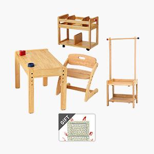 부오노 아미체(유아책상)+북웨건(책꽂이)+행거랙세트+의자쿠션 증정